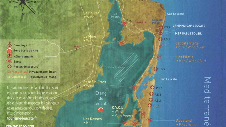 Les zones de navigation en kitesurf à leucate